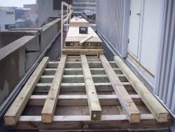 A runway that we built to bring 8,000 lb ups units across a roof.