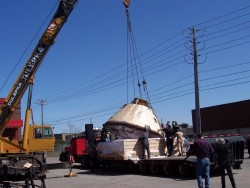 The Apollo 7 that was in the museum of science and technology leaving to go back to Texas.